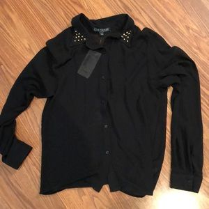 Black button studded blouse